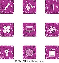 ecológico, ícones negócio, jogo, grunge, estilo
