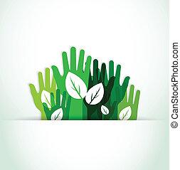 ecológico, arriba, manos