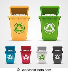 ecológico, basura, conjunto