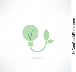 ecológico, bulbo leve, ícone