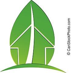 ecológico, casa, con, ambiental, hoja, vector, logotipo