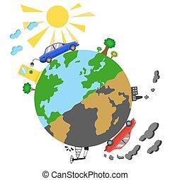 ecológico, conceito, infographics