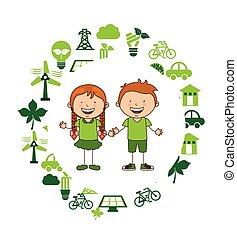 ecológico, crianças