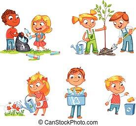 ecológico, crianças, design., engraçado, caricatura,...