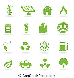 ecológico, e, ambiental, símbolos