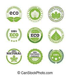ecológico, folhas, etiquetas, ícones, jogo