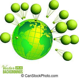 ecológico, fundo, com, crianças, e, globo