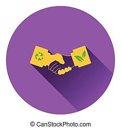 ecológico, handshakes, ícone