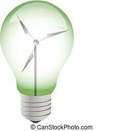 ecológico, ilustração, bulbo, luz