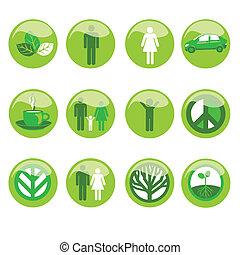 ecológico, jogo, ícone