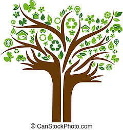 ecológico, manos, árbol, dos, iconos