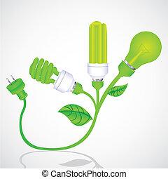 ecológico, planta, bombilla