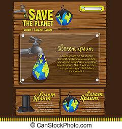 ecológico, site web, desenho