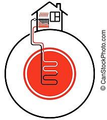 ecológico, sources., ajuda, casa, energia, source., geothermal, aquecimento, calor, renovável