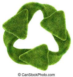ecológico, sustainability:, grama verde, símbolo reciclando