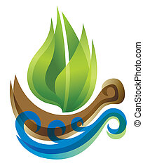 ecológico, thie, forma, ícone