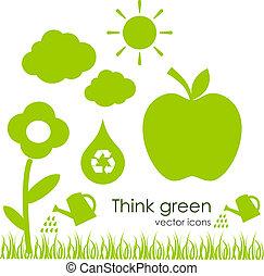 ecológico, vetorial, ícones