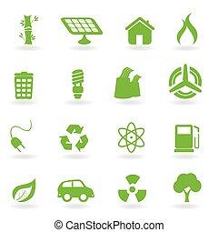 ecológico, y, ambiental, símbolos