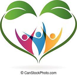 ecología, adore corazón, leafs, y, gente, logotipo