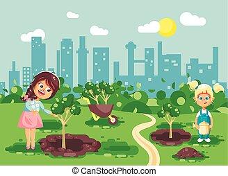 ecología, agujeros, niños, suelo, plantación, poco, regar, niñas, dos, cavado, plano, jardín, ciudad, estilo, ilustración, geek, caracteres, caricatura, cuidado, toma, árbol, vector, plantas de semilla