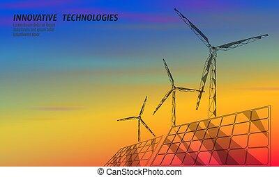 ecología, ahorro, electricity., poly, diseño, turbina, azul, molinos de viento, potencia, cielo, polygonal, bajo, naranja, verde, geométrico, rojo, generar, colorido, ilustración, environment., solar, renovable, vector, ocaso, paneles