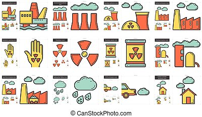 ecología, biohazard, línea, icono, set.