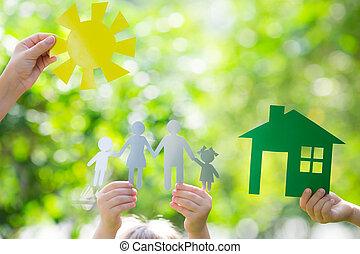 ecología, casa, en, manos