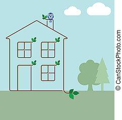 ecología, casa verde