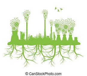 ecología, chimenea fábrica, vector, plano de fondo, concepto, con, no, contaminación, y, planeta verde, raíces