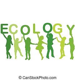 ecología, concepto, con, niños, siluetas