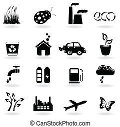 ecología, conjunto, icono
