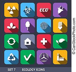 ecología, conjunto, iconos, largo, vector, 7, sombra