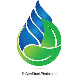 ecología, gota, agua, verde, leafs, logotipo