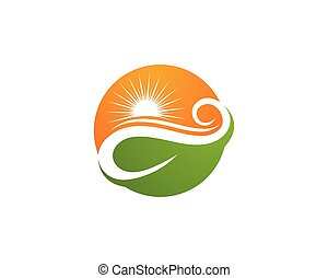 ecología, hoja, naturaleza, elemento, ir, vector, verde, icono