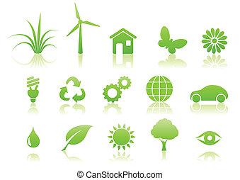ecología, icono, conjunto