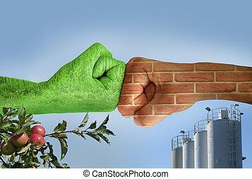 ecología, otro., manos, dos, contra, cada