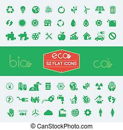 ecología, plano, icono, conjunto