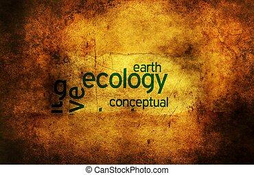 ecología, tierra, grunge, concepto