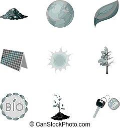 ecología, tierra, vector, estilo, bio, icono, combate, conjunto, problemas, acción, ecología, colección, ravages., monocromo, símbolo, maneras, illustration.