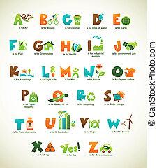 ecología, verde, alfabeto, con, colección, de, vector, elementos