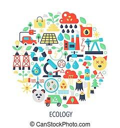 ecología, verde, energía, plano, infographics, iconos, en, círculo, -, color, concepto, ilustración, ecología, para, cubierta, emblema, template.
