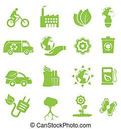 ecología, y, ambiente, iconos