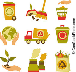 ecología, y, desperdicio, icono, conjunto