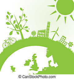 ecología, y, potencia, plano de fondo