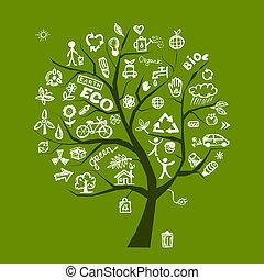 ecologia, árvore, conceito, verde, desenho, seu