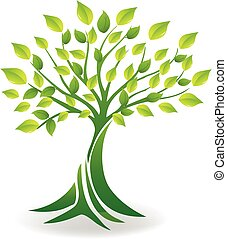 ecologia, árvore, logotipo, vetorial
