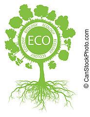 ecologia, albero, ambientale, vettore, sfondo verde, radici