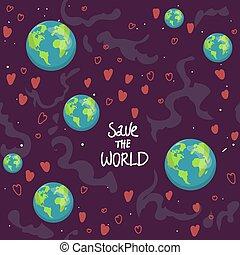 ecologia, amore, character., terra, icone fotoricettore, modello, natura, seamless, cartone animato, tessile, risparmiare, felice, mappa, globo, involucro, mondo, stampa, illustration., paper., pianeta, vettore, verde, cuori