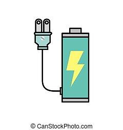 ecologia, bateria, ícone, rechargeable, plugue
