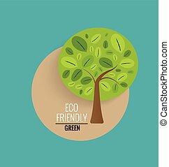 ecologia, conceito, com, árvore